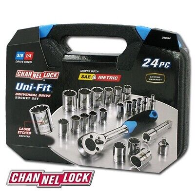 Channellock 38054 Uni-Fit 24 Piece Socket Set Drives SAE, Metric and More