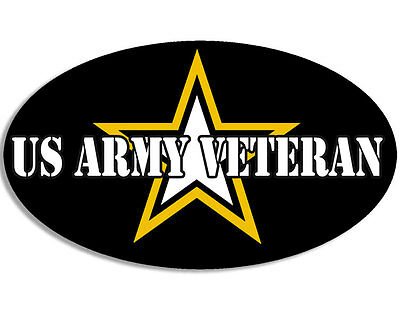3x5 inch Oval US ARMY Veteran Sticker - logo decal vet military soldier served