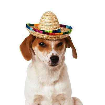 Straw Sombrero Hat Mexican Mariachi Halloween Pet Dog Cat Costume Accessory