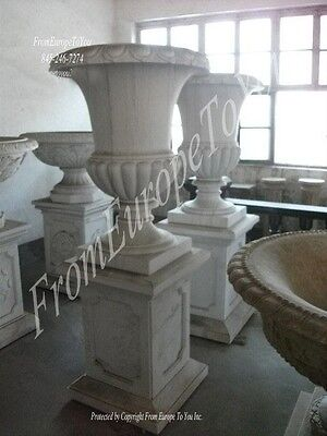 Hand Carved Classical Style Marble Urns And Bases