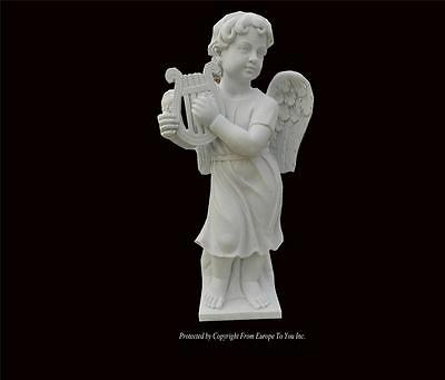 Beautiful Hand Carved Marble Whimsical Cherub Playing The Harp - Jx1