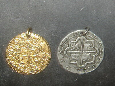 Lot Of 2 Pewter Silver Gold Tone Coin Pieces Of Eight Pirate Charm  Pendant