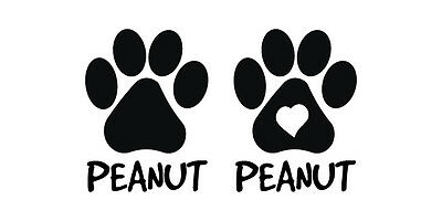 Two Personalized Paw Prints Pet Cat Dog Vinyl Decal Car Window Bumper Sticker