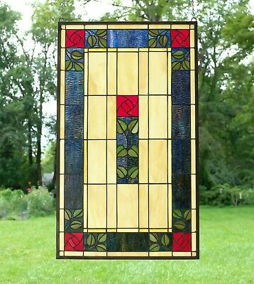 "20"" x 34"" Large Tiffany Style stained glass window panel Rose Flower!"