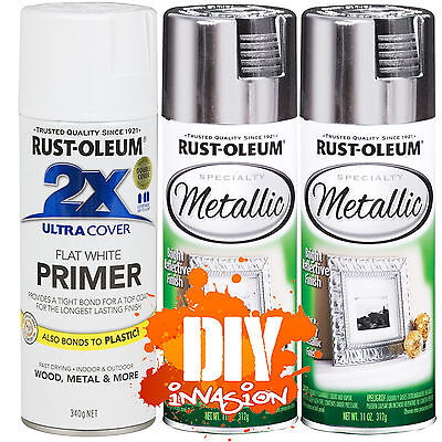 Rust-Oleum Reflective Metallic Silver x2 Leafing Leaf Spray Paint & White Primer