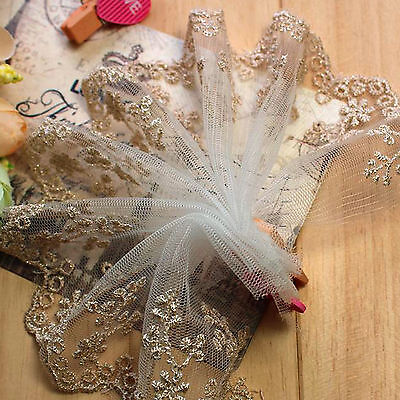 1M Lace Fabric Golden Sewing Trim Craft Polyester Cloth Flower Vintage DIY