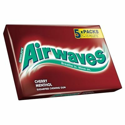 Wrigley's Airwaves Sugarfree Gum - Cherry Menthol (10 per pack x 5)