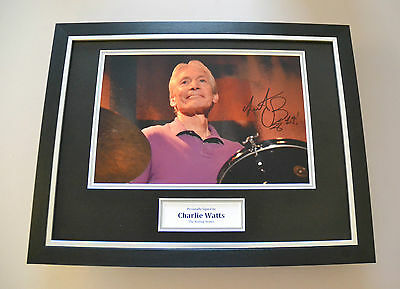 Charlie Watts Signed Framed 16x12 Photo Autograph Display Rolling Stones + COA