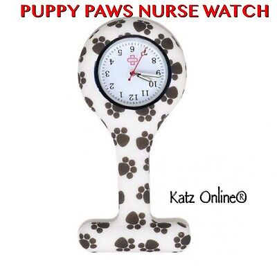Silicone Quartz Nurse Watch Medical Fashion Brooch Tunic Fob Fashion PUPPY PAWS