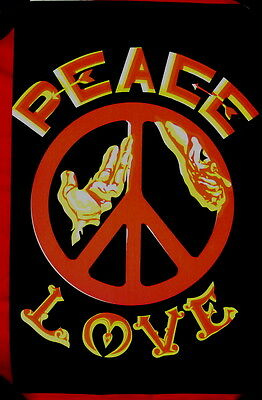 Psychedelic 1969 poster protest PEACE & LOVE black/red/yellow GORGEOUS