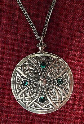 Celtic Cross Pendant Endless Knot Iona Emerald Ireland Silver Pewter Necklace