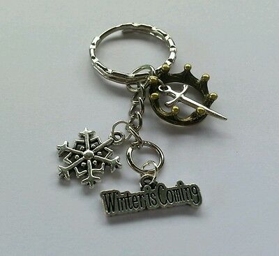 Game of Thrones Inspired Key Ring- Winter is Coming- Crown & Sword- Key Chain