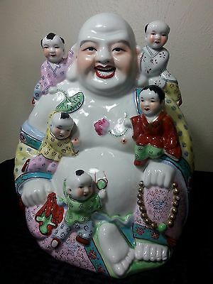 Vintage Large Chinese Porcelain Famille Rose Buddha Kids