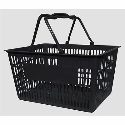 10 x Plastic Shopping Baskets 20L Black