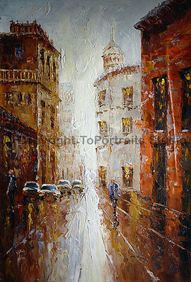 "Street Scene, Original Abstract Impasto Oil Painting on Canvas Art, 24"" x 36"""