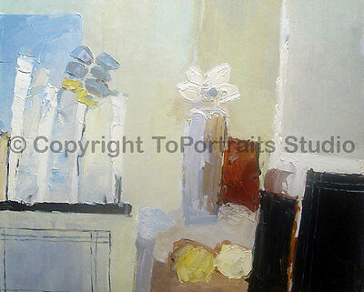 "Original Flowers Still Life Oil Painting on Canvas, Impasto Style, 36"" x 30"""