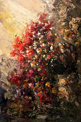 "Original Floral Still Life Oil Painting on Canvas, Impasto Art Style, 24"" x 36"""