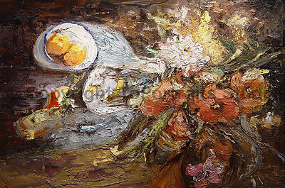 "Original Abstract Still Life Oil Painting on Canvas, Impasto Artwork, 36"" x 24"""
