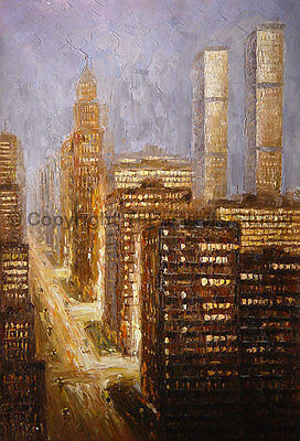 "New York, Original Abstract Handmade Impasto Oil Painting on Canvas, 24"" x 36"""