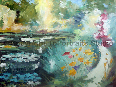 """Floral Art, Original Hand Painted Modern Oil Painting on Canvas, 34"""" x 26"""""""
