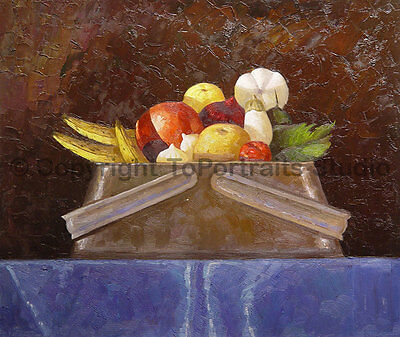 """Bowl Of Vegetables & Fruits, Original Oil Painting on Canvas Artwork, 36"""" x 30"""""""