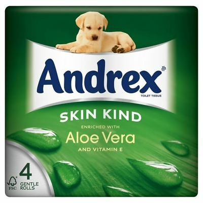 Andrex Skin Kind Enriched Aloe Vera Toilet Tissue Rolls 160 Sheets per Roll (4)