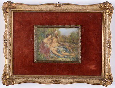 """Francois Boucher-Manner """"Friends"""", miniature, early 20th centuy"""