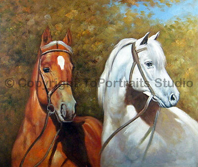 """Two Horses, Original Animal Oil Painting on Canvas, Realist Art, 36"""" x 30"""""""