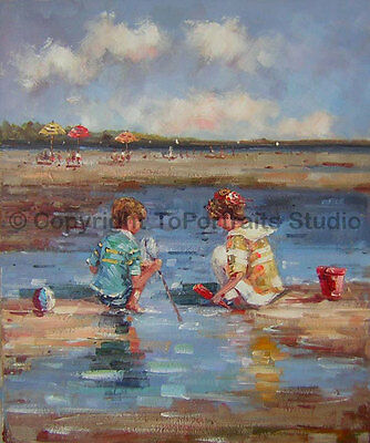 "Children Playing At The Beach, Original Handmade Canvas Oil Painting , 30"" x 36"""
