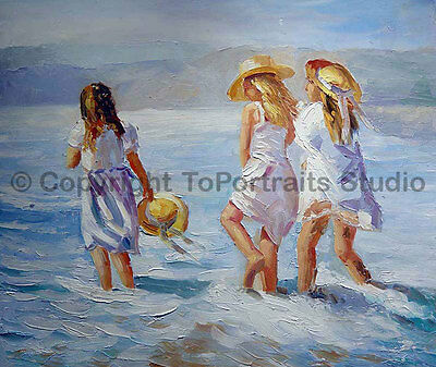 "Children At The Beach, Original Handmade Oil Painting on Canvas Art, 36"" x 30"""