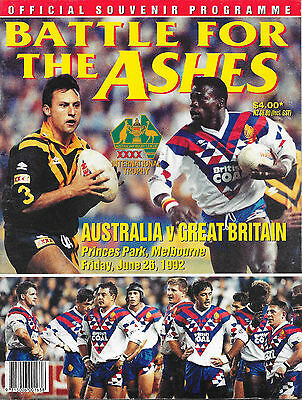 1992 - Australia v Great Britain, 2nd Test Match Programme.