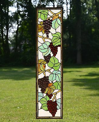 "9"" x 36"" Tiffany Style stained glass window panel flower Grape w/ Vine"