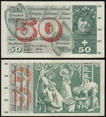Schweiz - Switzerland 50 Franken  Banknote 4-10-1957  Pick 47b VF  (15056