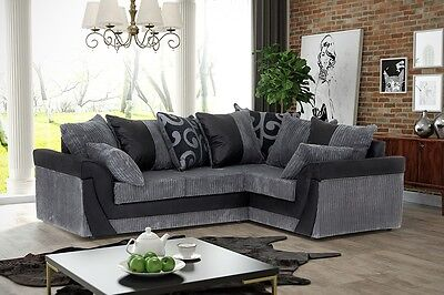 Lush Corner Sofa in Black&Grey or Brown&Beige, Swivel Chair in Jumbo Cord Fabric