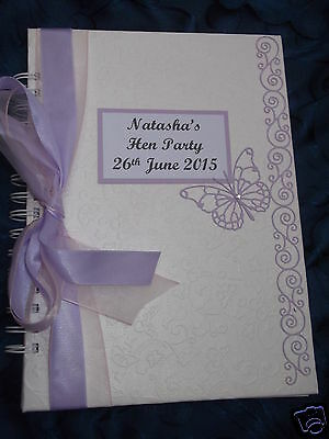 Hen Night /party Guest Book Personalised  Dainty Butterfly Swirl Design Boxed
