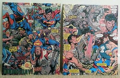 Original Decoupage: Death of Superman Set, Framed (11X14)