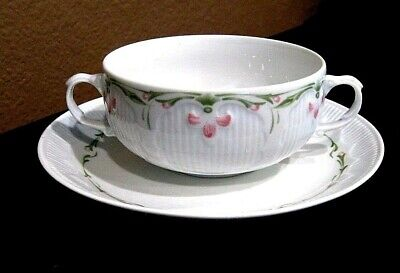 Friesland 2 Handled White & Pink Floral Porcelain Soup Bowl with Matching Saucer