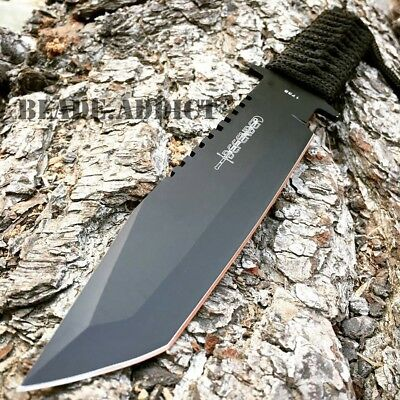 "11"" MILITARY TACTICAL TANTO COMBAT KNIFE w/ SHEATH Survival Hunting Fixed Blade"