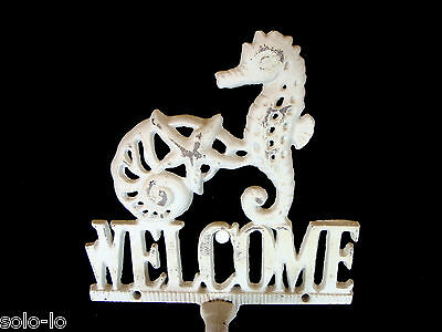 Cast Iron Metal Hanging Door Bell Welcome Sign /Seahorse Rustic Wash White 27cm