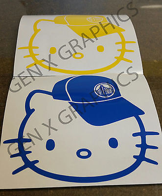 GOLDEN STATE WARRIORS NBA Champions 2015 HELLO KITTY DECAL STICKER VINYL x 2