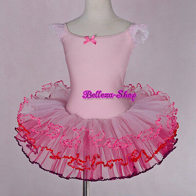 Pink Girl Frill Sleeves Ballet Tutus Dance Costume Fairy Dresses Size 3T-8 BA049