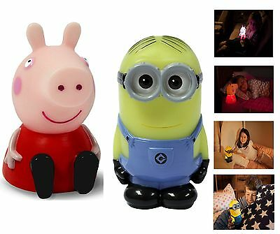 Official Peppa Pig Minions Colour Changing Kids Bedroom Night Light Lamp