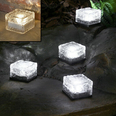 4 Solar Outdoor Garden Patio Decking Pathway Glass Brick Ice Cube Led Lights