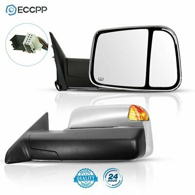 For Dodge Ram Side Mirror Chrome Power Heated Towing Mirrors + LED Puddle Lights