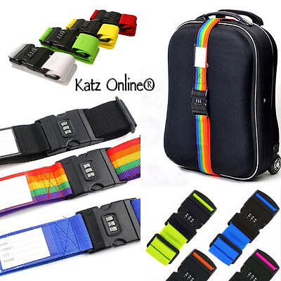 Katz Adjustable Combination 2M Luggage Strap Travel Baggage Tie Down Belt lock