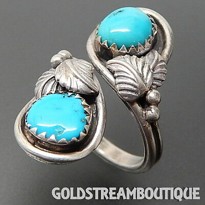 Vintage Navajo Zuni 925 Silver Turquoise Leaves Bypass Open Shank Wrap Ring