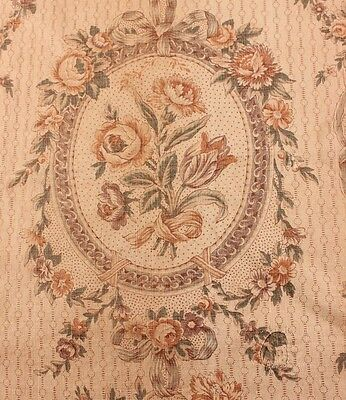 "Antique Vintage French Floral, Baskets&Ribbon Home Linen Fabric c1918~26""LX25""W"