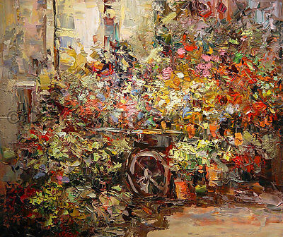 """The Flowers Cart, Original Handmade Floral Oil Painting on Canvas Art, 36"""" x 30"""""""