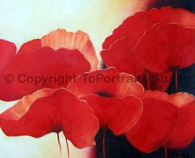 "Poppies, Original Hand Painted Oil Painting on Canvas, Floral Art, 36"" x 30"""