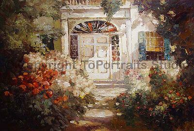 "Original Rose Garden Oil Painting on Canvas, Impasto Abstract Style , 36"" x 24"""